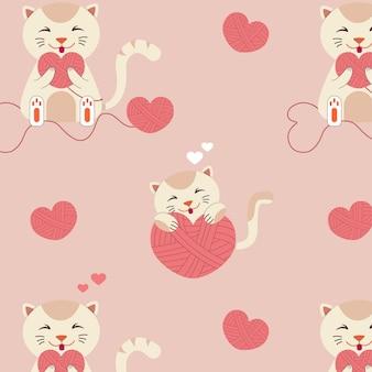 Patrón con gatos y corazones