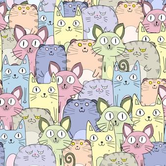 Patrón de gatos sin costura