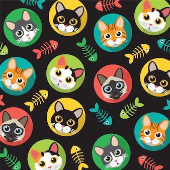 Patrón de gatos y espinas