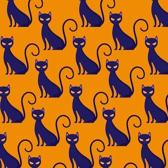 Patrón de gatos felinos de halloween