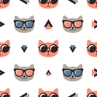 Patrón con gatos con gafas sobre fondo blanco.
