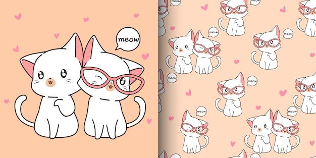 Patrón de gatos kawaii sin costuras