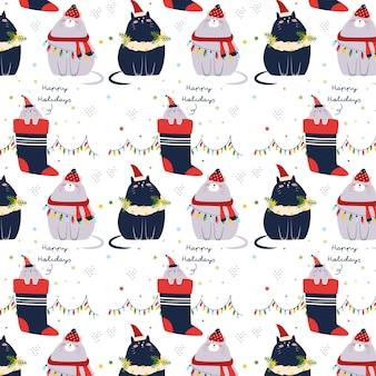 Patrón de gatos de navidad