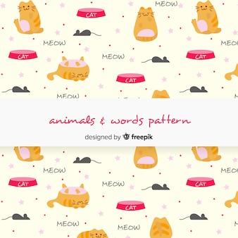 Patrón gatos y palabras dibujados a mano