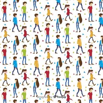 Patrón gente andando dibujada a mano