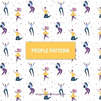 Patrón con gente bonito con diseño plano