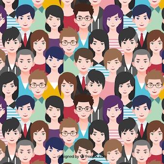 Patrón de gente con diseño plano