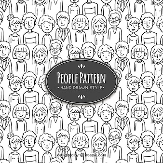 Patrón de gente con estilo de dibujo a mano
