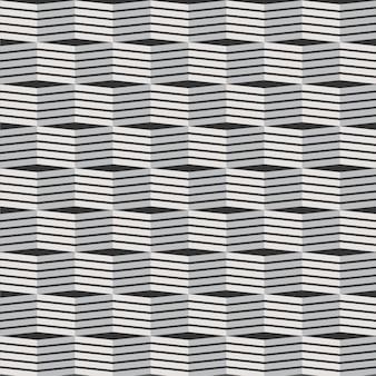 Patrón geométrico 3d líneas patrón vector edificio fondo blanco y negro con textura