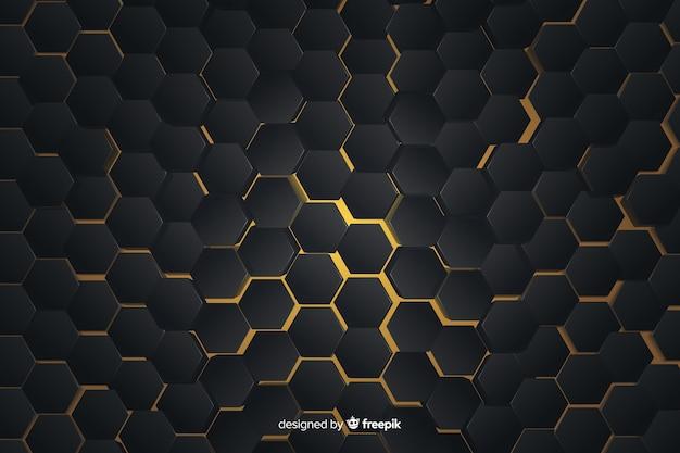 Patrón geométrico abstracto con luces amarillas