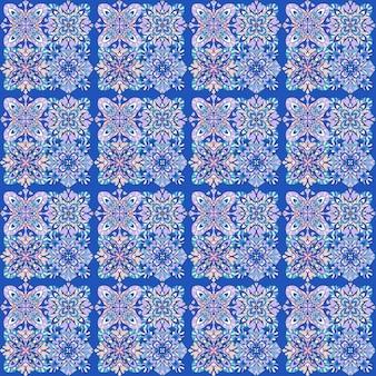 Patrón geométrico africano en azul, diseño étnico tribal sin costuras