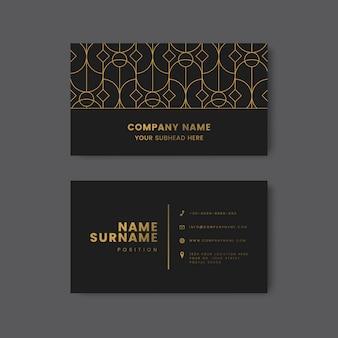Patrón geométrico dorado en vector de tarjeta de visita negro