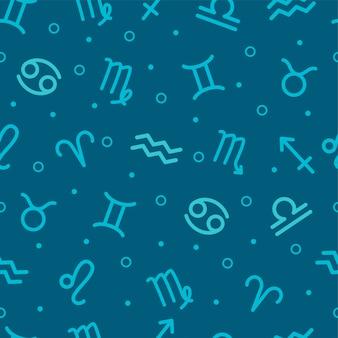 Patrón geométrico sin fisuras con los signos del zodiaco