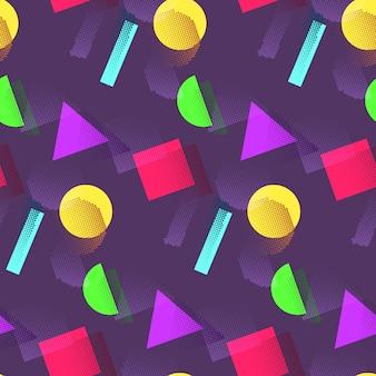 Patrón geométrico con formas coloridas.