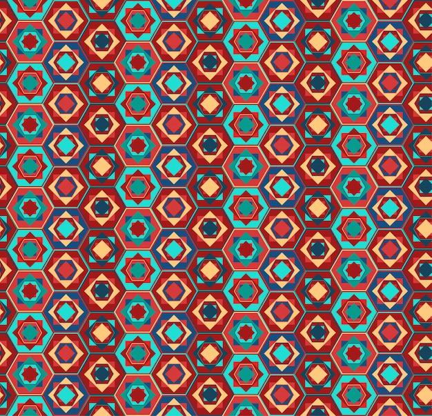 Patrón geométrico con hexágonos y cuadrados.
