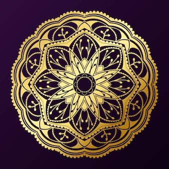 Patrón geométrico mandala de oro sobre fondo púrpura