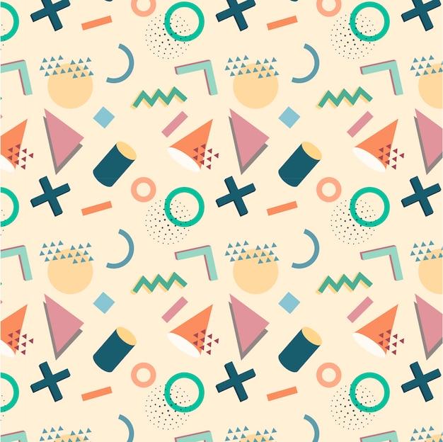 Patrón geométrico de memphis estilo años 90 en una moderna y suave paleta de colores.