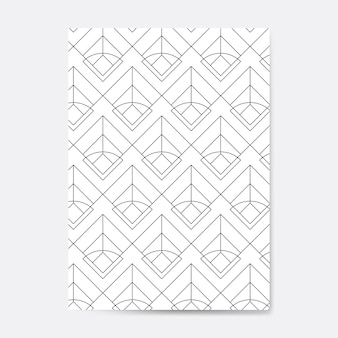 Patrón geométrico negro transparente en una tarjeta blanca