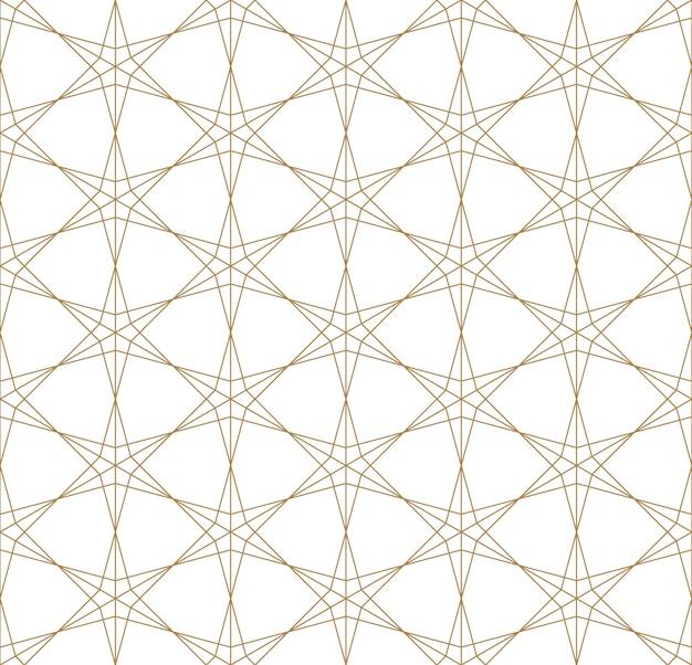 Patrón geométrico transparente basado en el ornamento japonés kumiko .líneas de oro