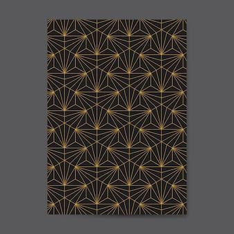 Patrón geométrico transparente dorado en una tarjeta negra