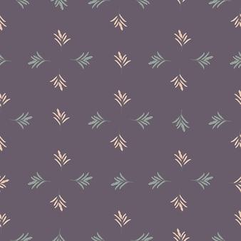 Patrón geométrico transparente con siluetas de ramas de hojas florales simples impresas.