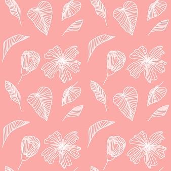 Patrón geométrico tropical rosa y blanco.