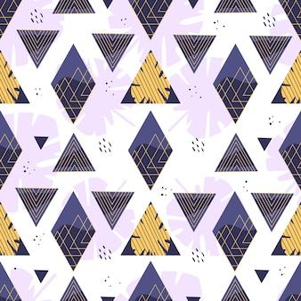 Patrón geométrico de verano con rombos, triángulos y hojas. ilustración.