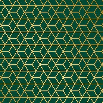 Patrón geométrico verde dorado