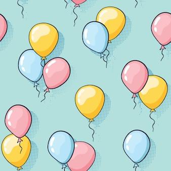 Patrón de globo sin costuras para niños sobre fondo punteado para decoración