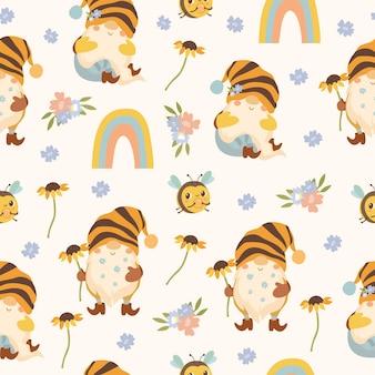 Patrón con gnomos de abeja y arcoiris.