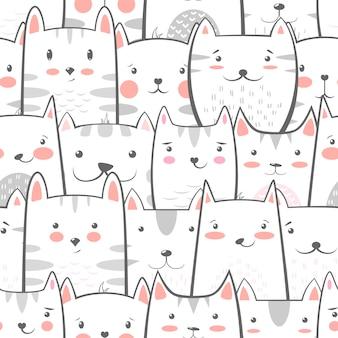 Patrón gracioso gato