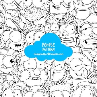 Patrón gracioso de gente con estilo de dibujo a mano