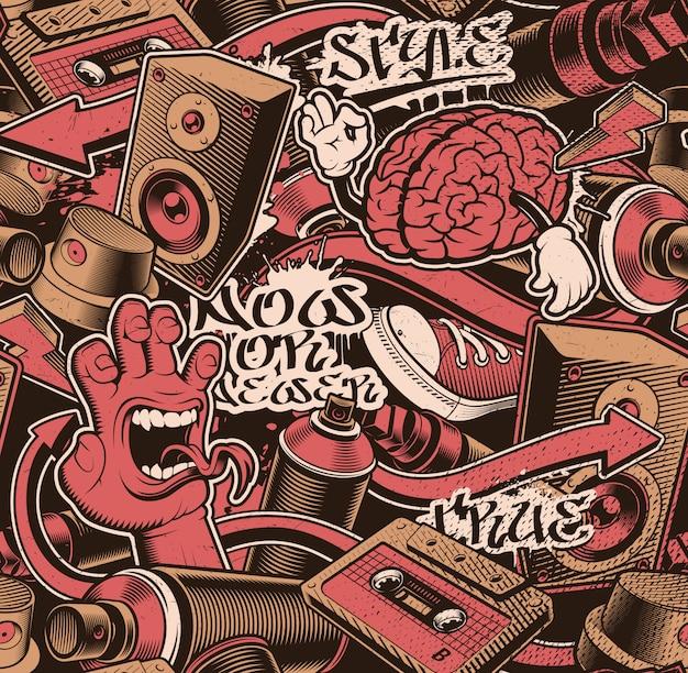 Patrón de graffiti sin costuras