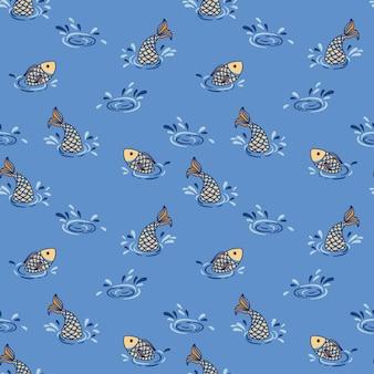 Patrón gráfico transparente con peces