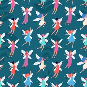 Patrón de hadas del bosque. los niños imprimen, lindo cuento de fondo de princesa voladora. chicas mágicas felices con alas