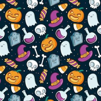 Patrón de halloween dibujado a mano