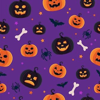 Patrón de halloween con diferentes calabazas, espeluznante jack o lantern, arañas y murciélagos