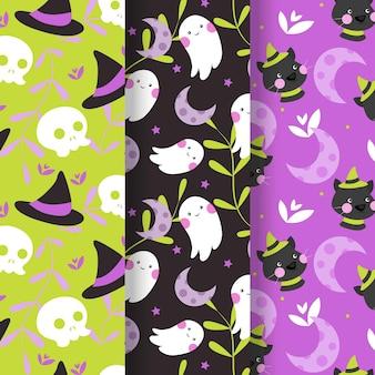 Patrón de halloween de diseño plano