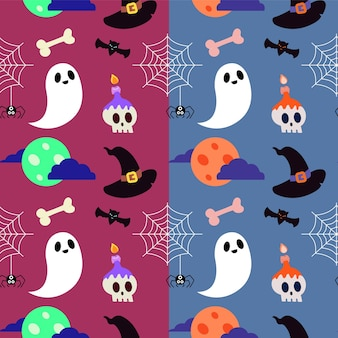 Patrón de halloween con fantasma y calavera