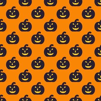 Patrón de halloween sin fisuras con calabaza negra, textura sin fin. el fondo vectorial se puede utilizar para papel tapiz, rellenos, páginas web, superficies, álbumes de recortes, tarjetas navideñas, invitaciones y diseño de fiestas.