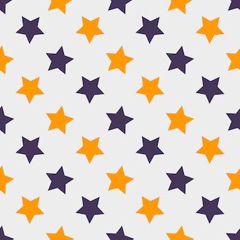 Patrón de halloween sin fisuras con estrellas, textura sin fin. el fondo vectorial se puede utilizar para papel tapiz, rellenos, páginas web, superficies, álbumes de recortes, tarjetas navideñas, invitaciones y diseño de fiestas.