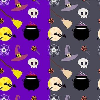 Patrón de halloween con luna y calavera