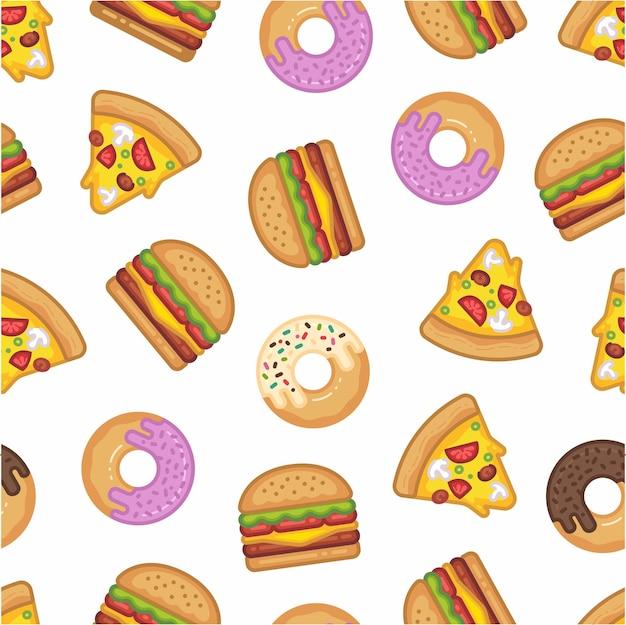 Patrón de hamburguesa, pizza y postre dulce.