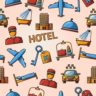 Patrón de handdrawn de hotel sin costuras