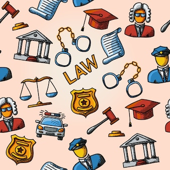 Patrón de handdrawn de ley sin costuras con escalas y martillo, palacio de justicia, juez, placa de policía, esposas, gorra de abogado, coche de policía, documento de sentencia.