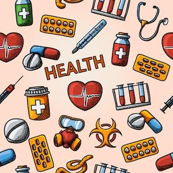 Patrón de handdrawn de salud sin fisuras con - estetoscopio, corazón, termómetro, píldoras, señal de peligro biológico, jeringa, tubos de ensayo, máscara de gas.