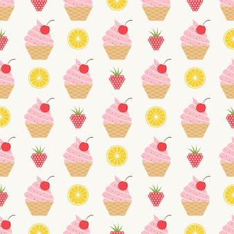 Patrón de helado, fondo colorido verano. ilustración de estilo elegante y de lujo.