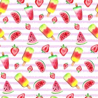 Patrón de helado de frutas acuarela