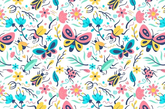 Patrón de hermosas flores e insectos