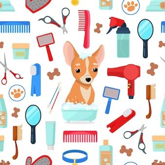 Patrón con herramientas de aseo y perro